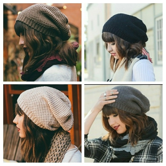 f1d8aee9222 WAFFLE KNIT SLOUCH BEANIE💥
